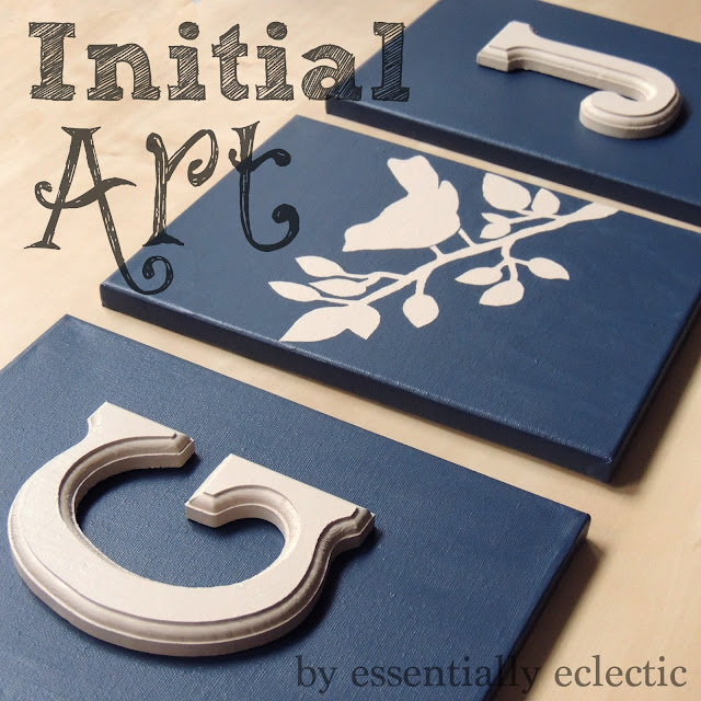 DIY Initial Art | www.EssentiallyEclectic.com | Make your very own custom wall art using just wood lettering, a few canvas boards and acrylic paint!