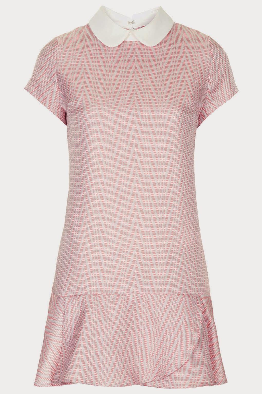 pink white collar dress