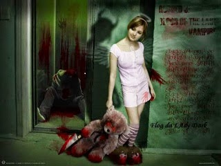 A poster of a horror movie of a murder by a teenage girl.