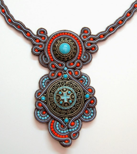 naszyjnik sutasz soutache necklace  11a