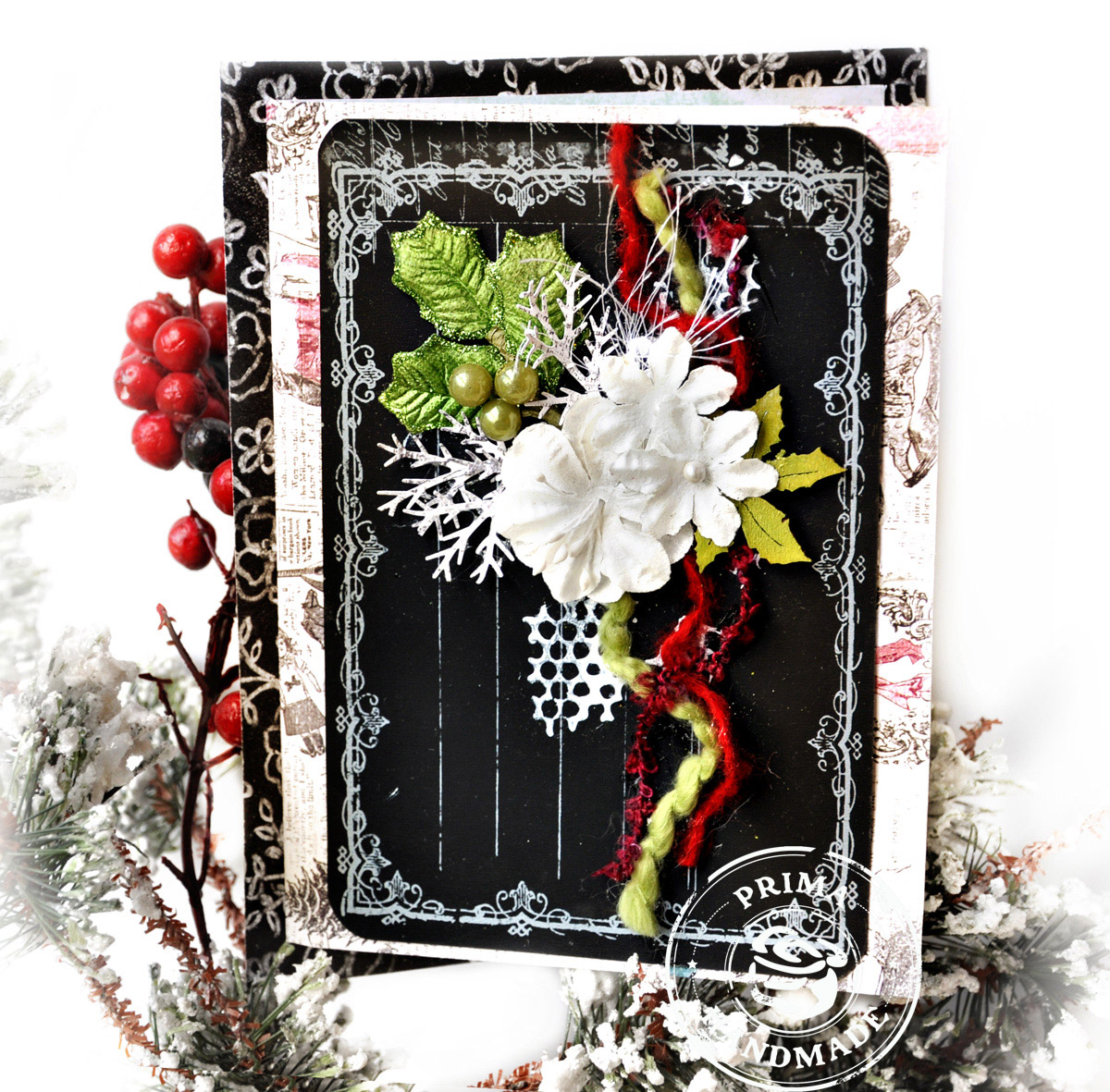 Scrap escape prima christmas card with paintable and chalkboard note cards for Chalkboard christmas cards