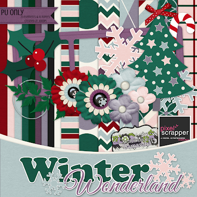 "Free scrapbook kit ""Winter Wonderland"" by Creations by Samantha"