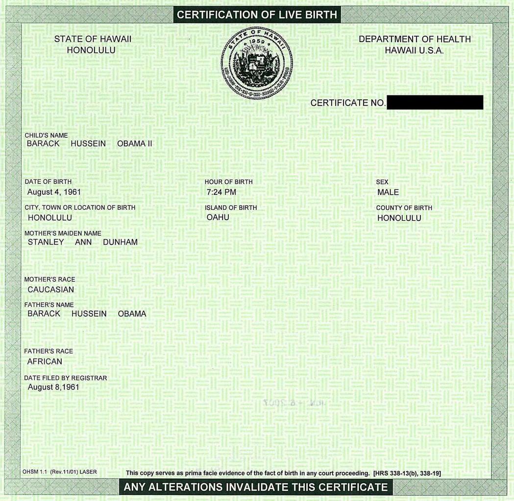 Akta kelahiran Obama