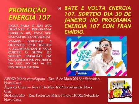 PROMOÇÃO BATE E VOLTA ENERGIA 107