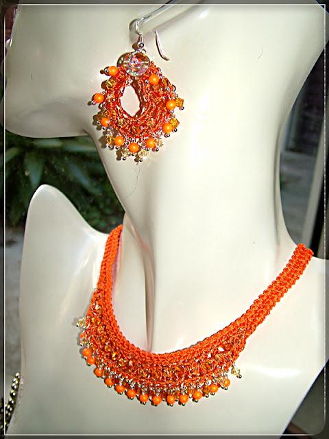 Swarovski Neon - Wire Crochet Necklace & Earrings