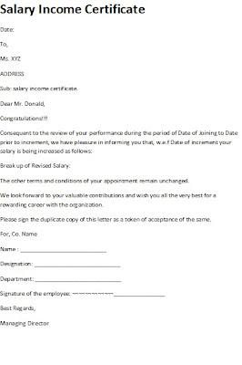 salary income certificate, salary income certificate sample