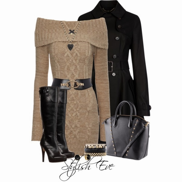 Black coat, long brown coat with open shoulders and long black boots style