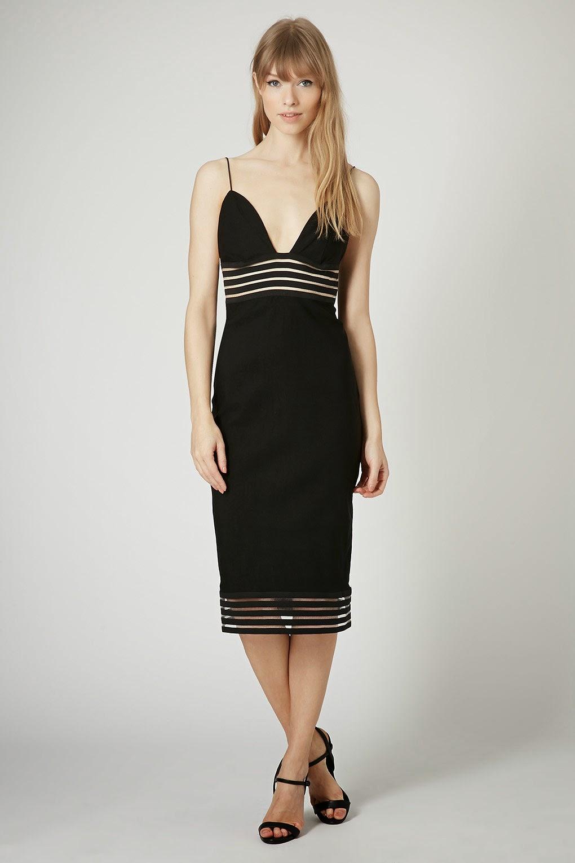 rare black mesh panel dress