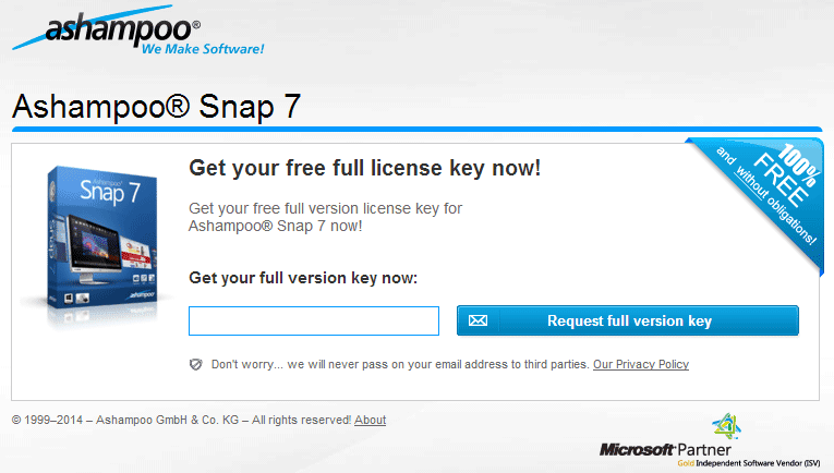 Ashampoo Snap 7 Full Legal License Key Gratis