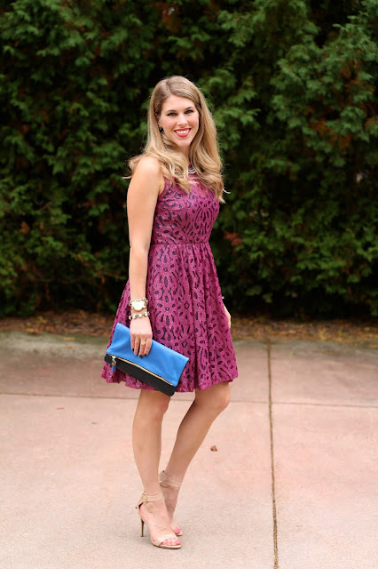 Pink Tracy Reese dress, nude heels, blue Clare V. clutch