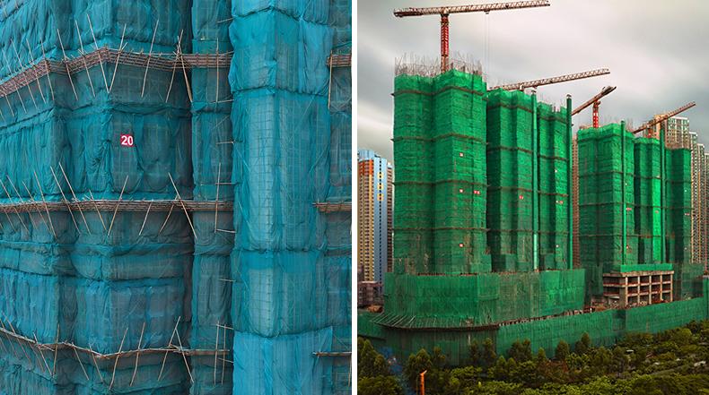 Capullos: Fotos de edificios en construcción en Hong Kong envueltos en vibrantes telas