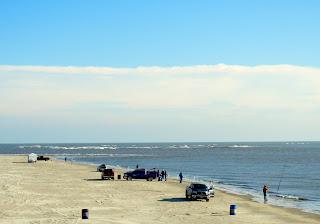 Fishermen fishing on the Galveston beaches