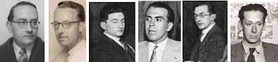 Los ajedrecistas Dr. Vallvé, Joaquim Calduch, F. Agramunt, Joan Comas, L. Coderch y Antoni G. Castellà