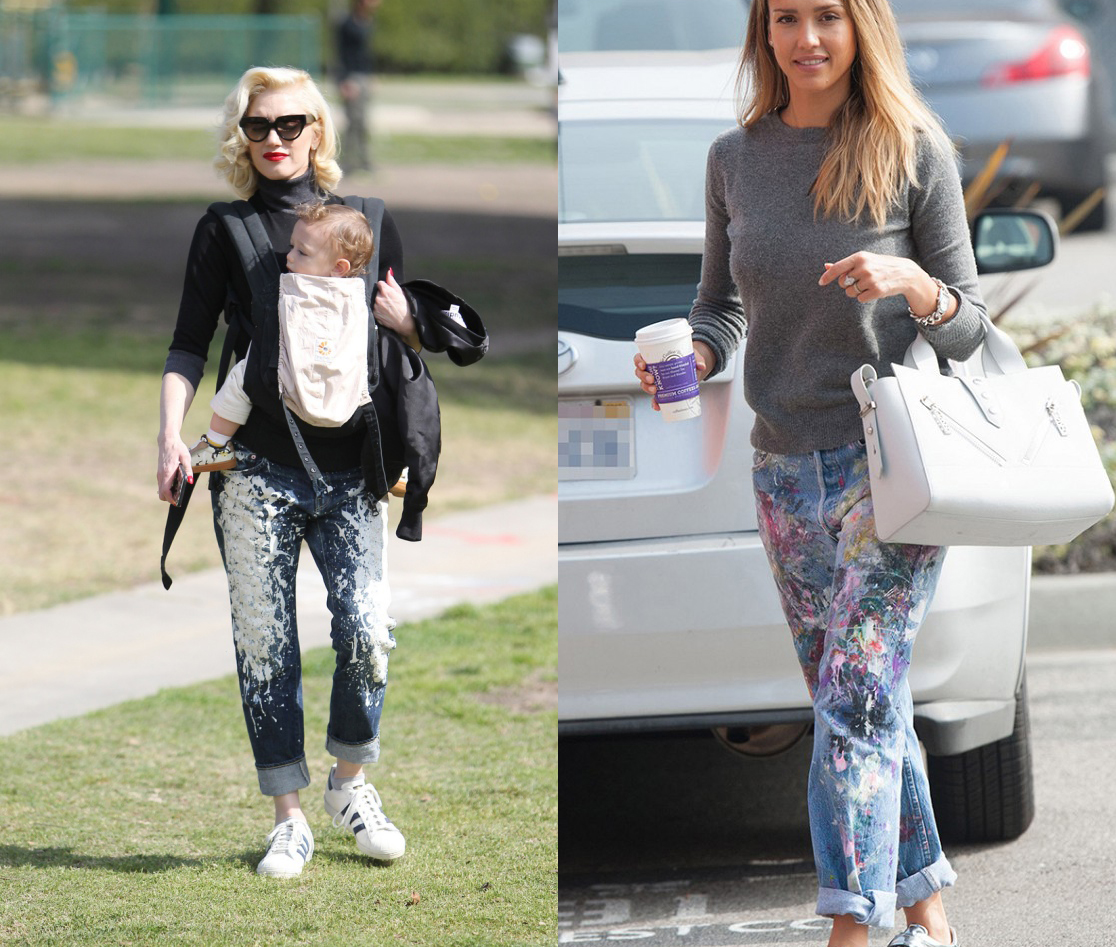 celebs in paint splattered jeans