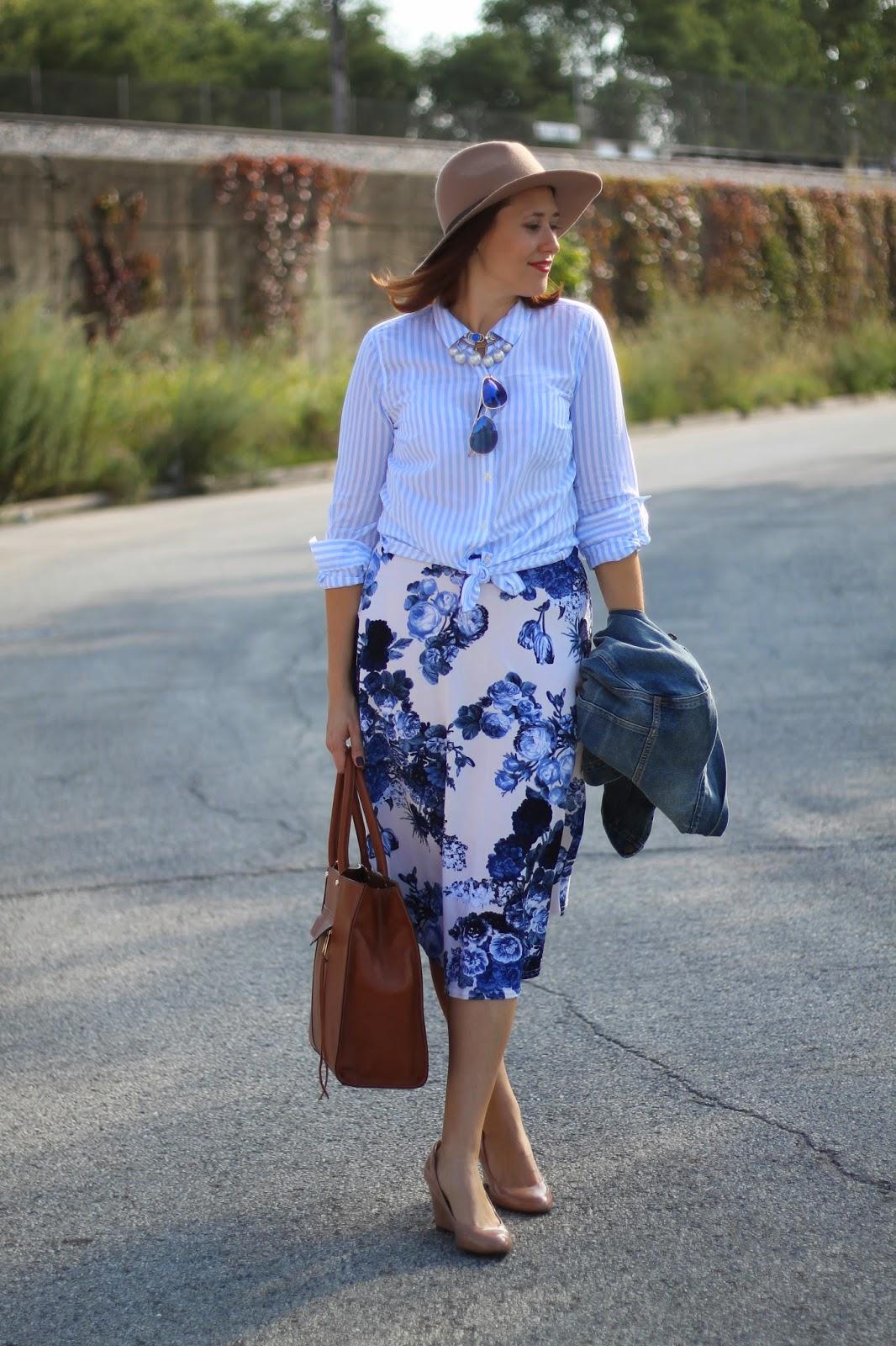 midi, skirt, floral