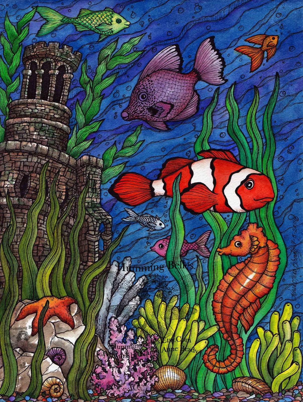 undersea scene number one coloring page
