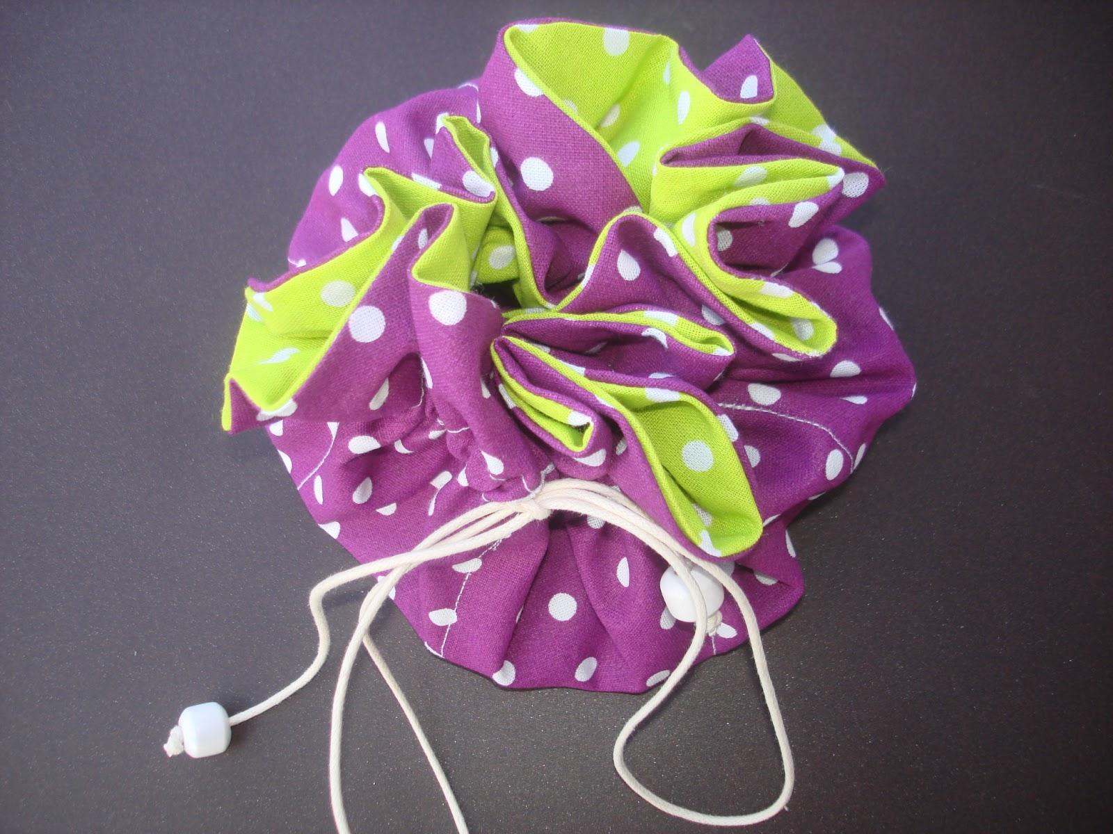 pochon à bijoux huit poches pois violet anis cordon
