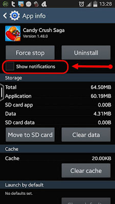 application notification show/stop
