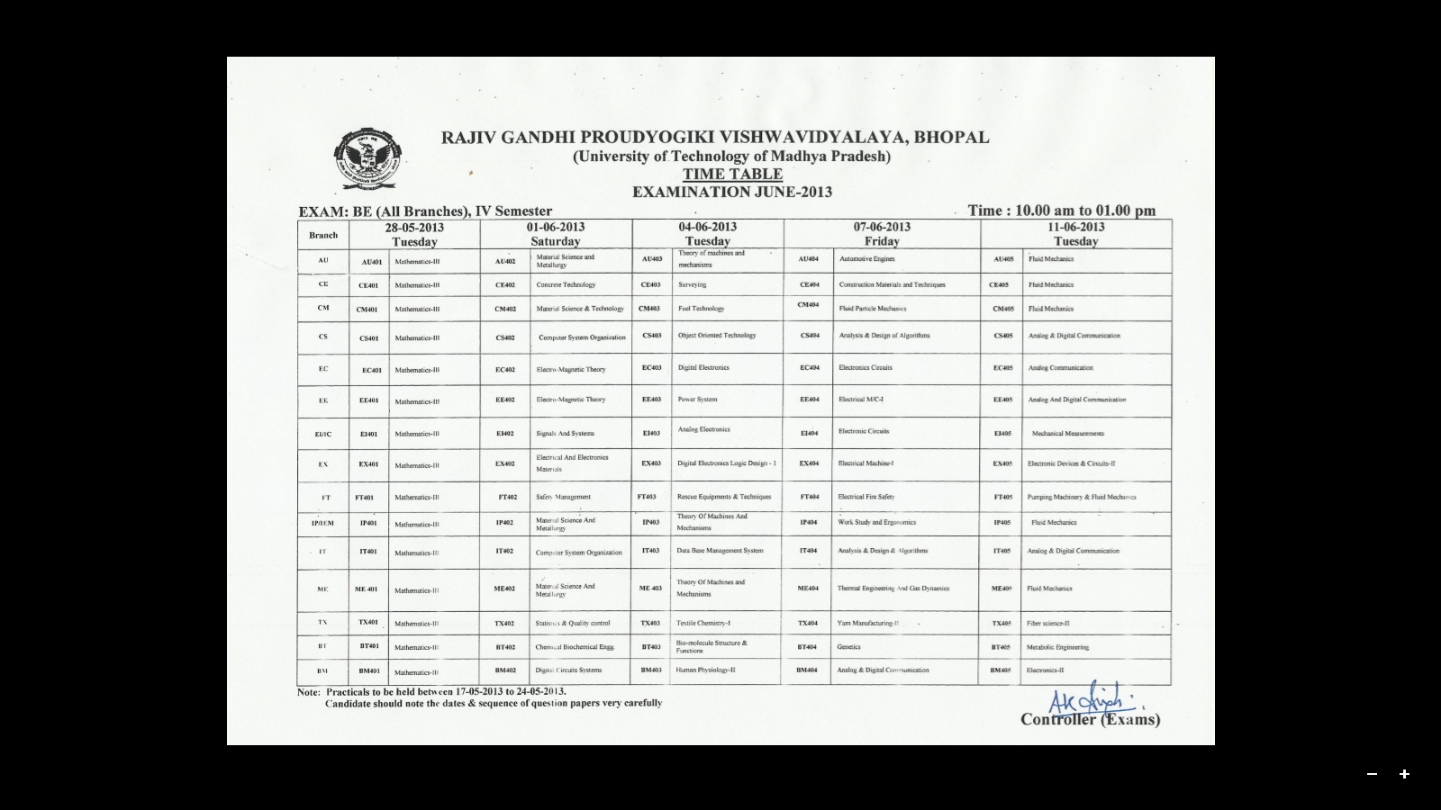 Rajiv gandhi proudyogiki vishwavidyalaya rgpv b e 4th sem for 6th sem time table