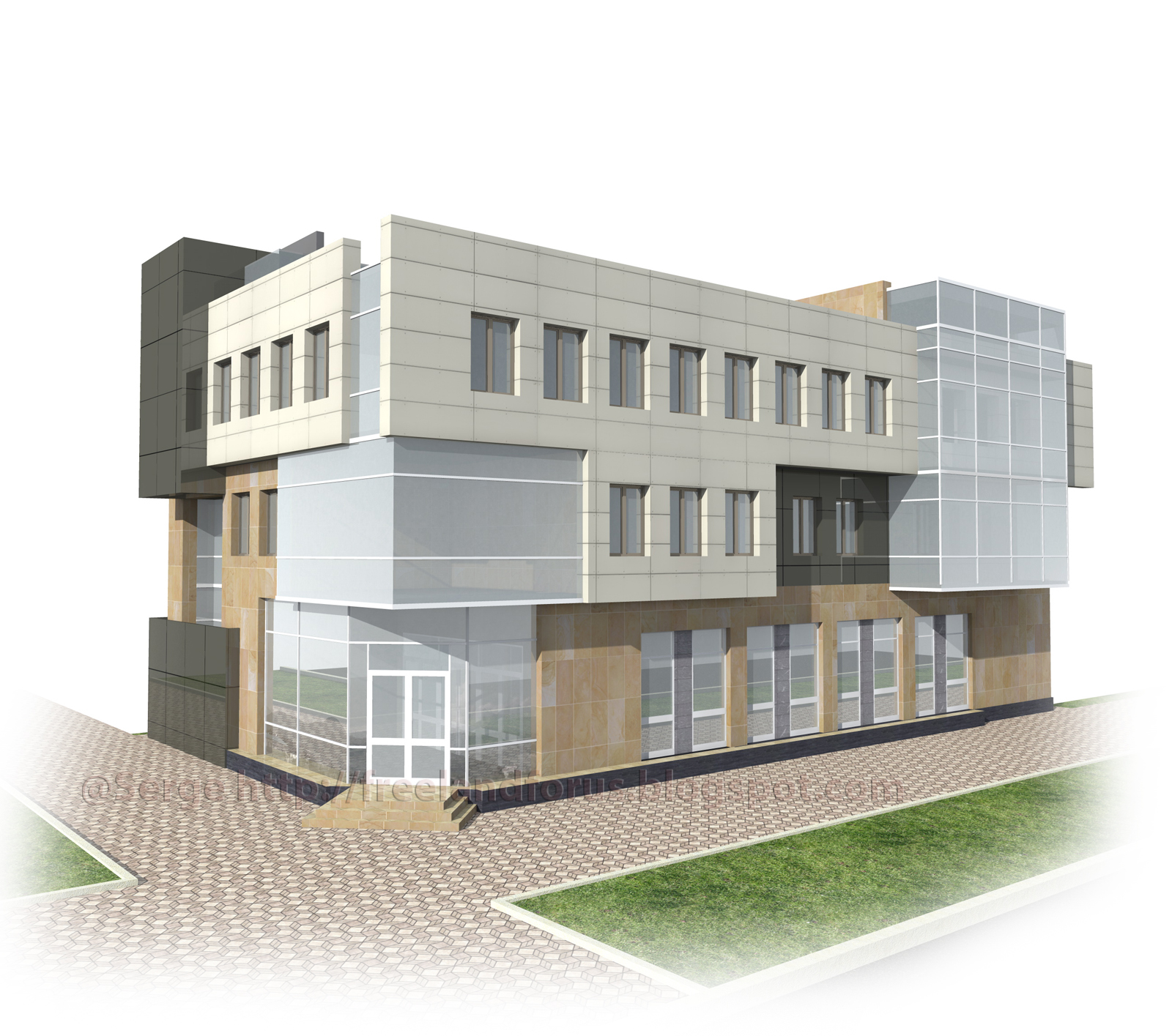 Mixed use retail and office building