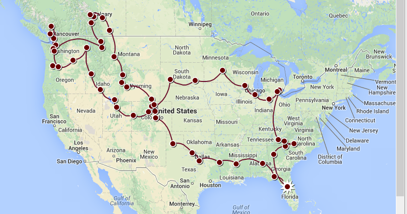 2014 Summer Tour Route