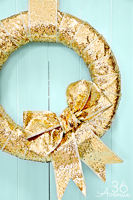 Gold Ribbon Christmas Wreath from FrySauceandGrits.com