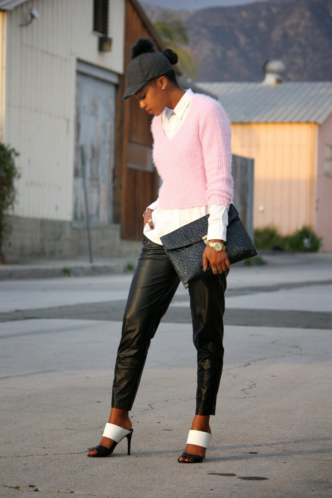 Think Pink outfit details Bcbgeneration hat Ralph Lauren top H&M sweater Piper Project leather pants Charles David shoes vintage John Weitz purse