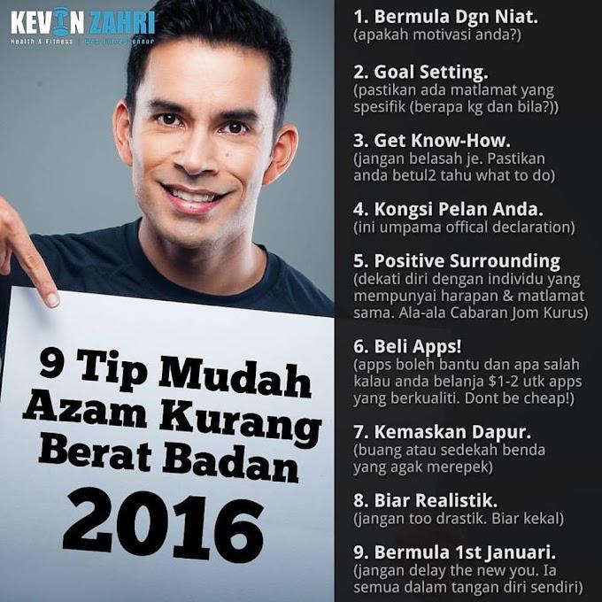 9 TIPS MUDAH KURANGKAN BERAT BADAN 2016