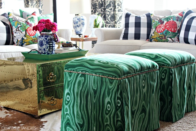 How to reupholster an ottoman, Robert Allen Malakos malachite fabric, diy upholstered ottoman makeover,