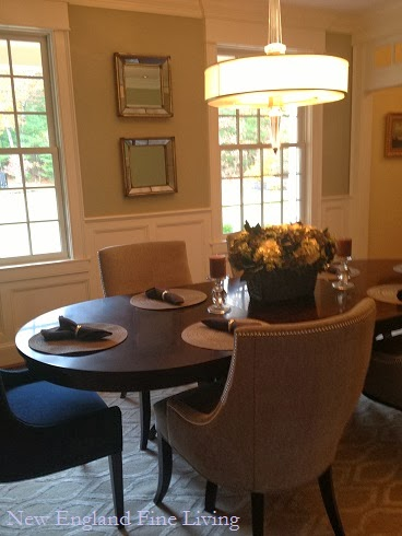 I love the placemats and napkins my client has set on the for New england dining room ideas