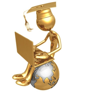 Gold Graduate sitting on Gold Globe