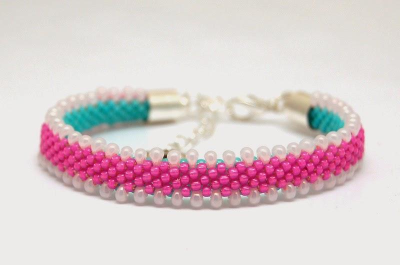 bransoletka koralikowa szydełkowa bead crochet bracelet 17a