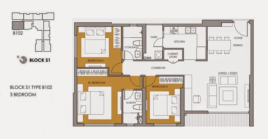 mặt bằng căn hộ S11509 diện tích 99.48m2 tòa S1