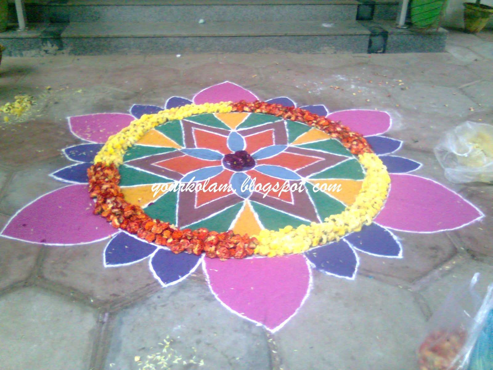 அழியாத கோலம்/ ముగ్గులు / रंगोली : Colourful rangoli Rangoli Designs With Dots For New Year 2012
