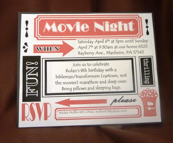 Live Scrap Love Free Printable Movie Night Invite