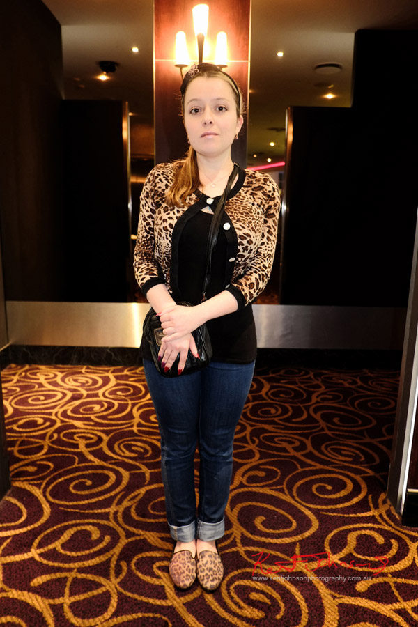 Hedy Belle Nova wears Jeans and leopard Print Cardigan - The Way, Way Back preview night.