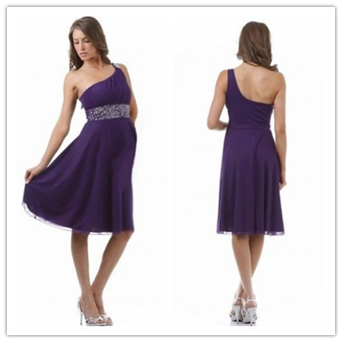 purple Chiffon One-shoulder Empire A-line Knee-length Maternity Bridesmaid Dress