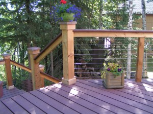 Purple Deck With Stunning Cable Railing Systems
