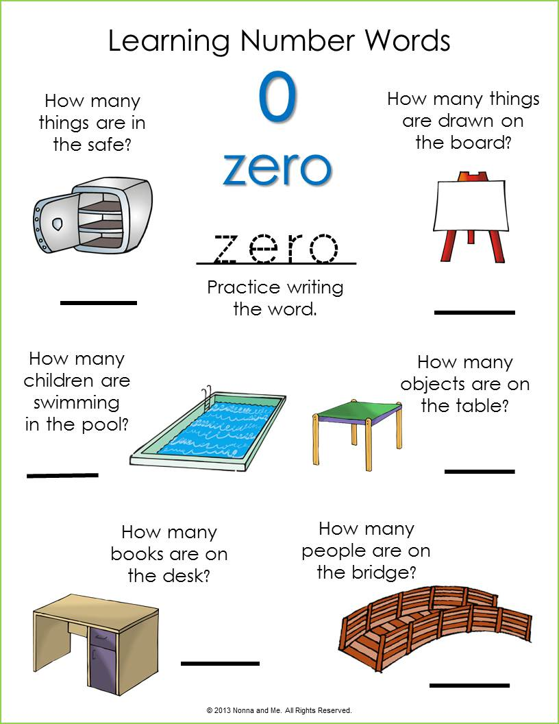 Number Zero Worksheet http://nonnaandme.blogspot.com/2013/02/learning-number-words-zero.html
