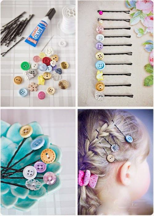 Τσιμπιδάκια για τα μαλλιά με κουμπιά