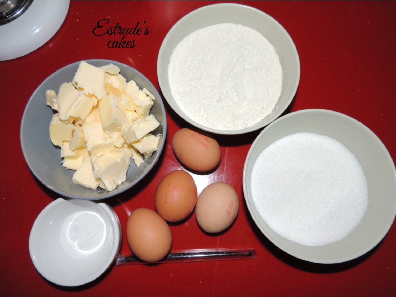 receta de bizcocho básico de tartas - ingredientes
