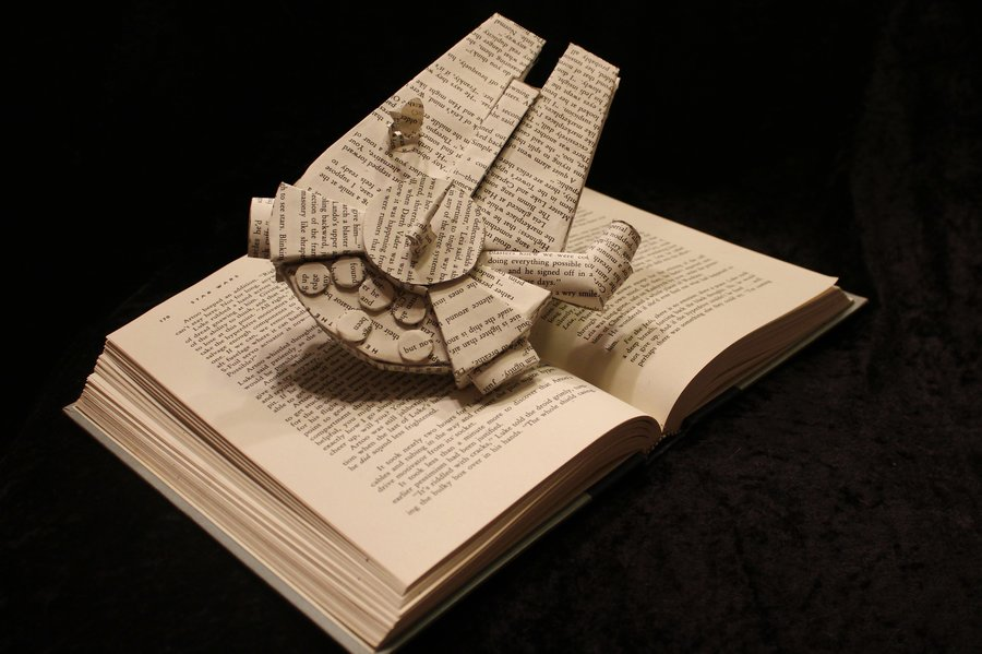 origami xwing made out of pages from star wars novels