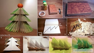 DIy homemade Christmas Trees from old books
