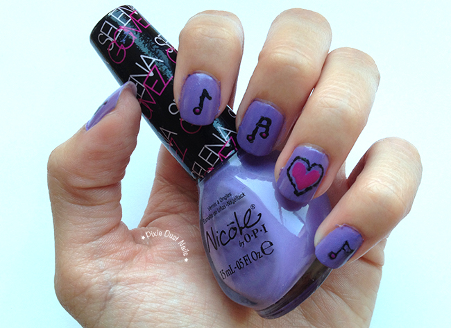 "Nail art inspired by the song-  ""Love You Like A Love Song"" using Nicole by OPI Selena Gomez ""Love Song"" polish"