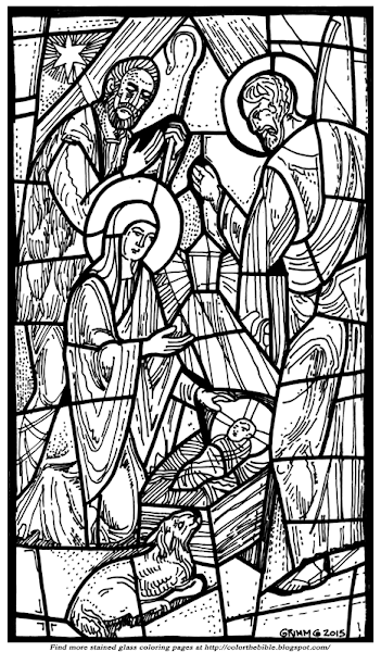 Christmas nativity stained glass coloring pages for Christmas stained glass coloring page