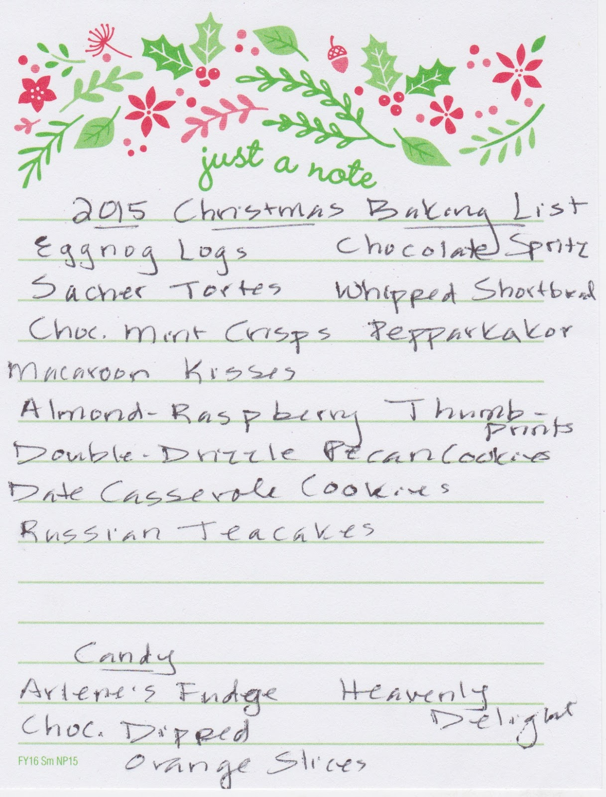 Mrs T S Christmas Kitchen 2015 Baking List