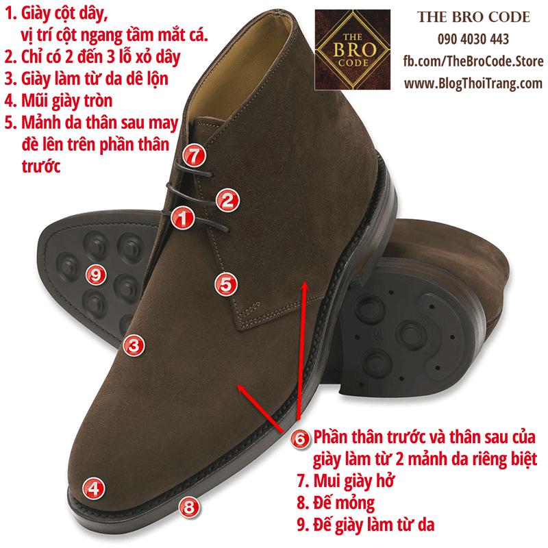 9 đặc điểm để nhận dạng một đôi Chukka boot truyền thống