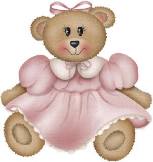osita de peluche con vestido rosa