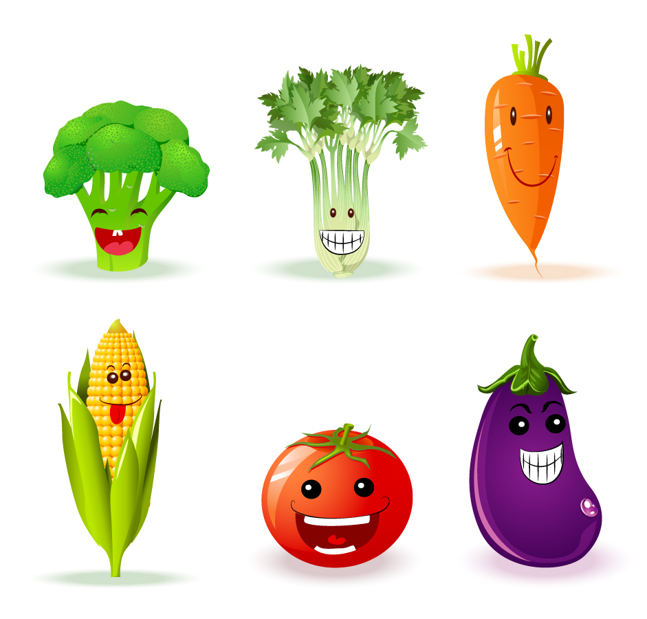 可愛い表情を見せる野菜のクリップアート Funny Veggies イラスト素材