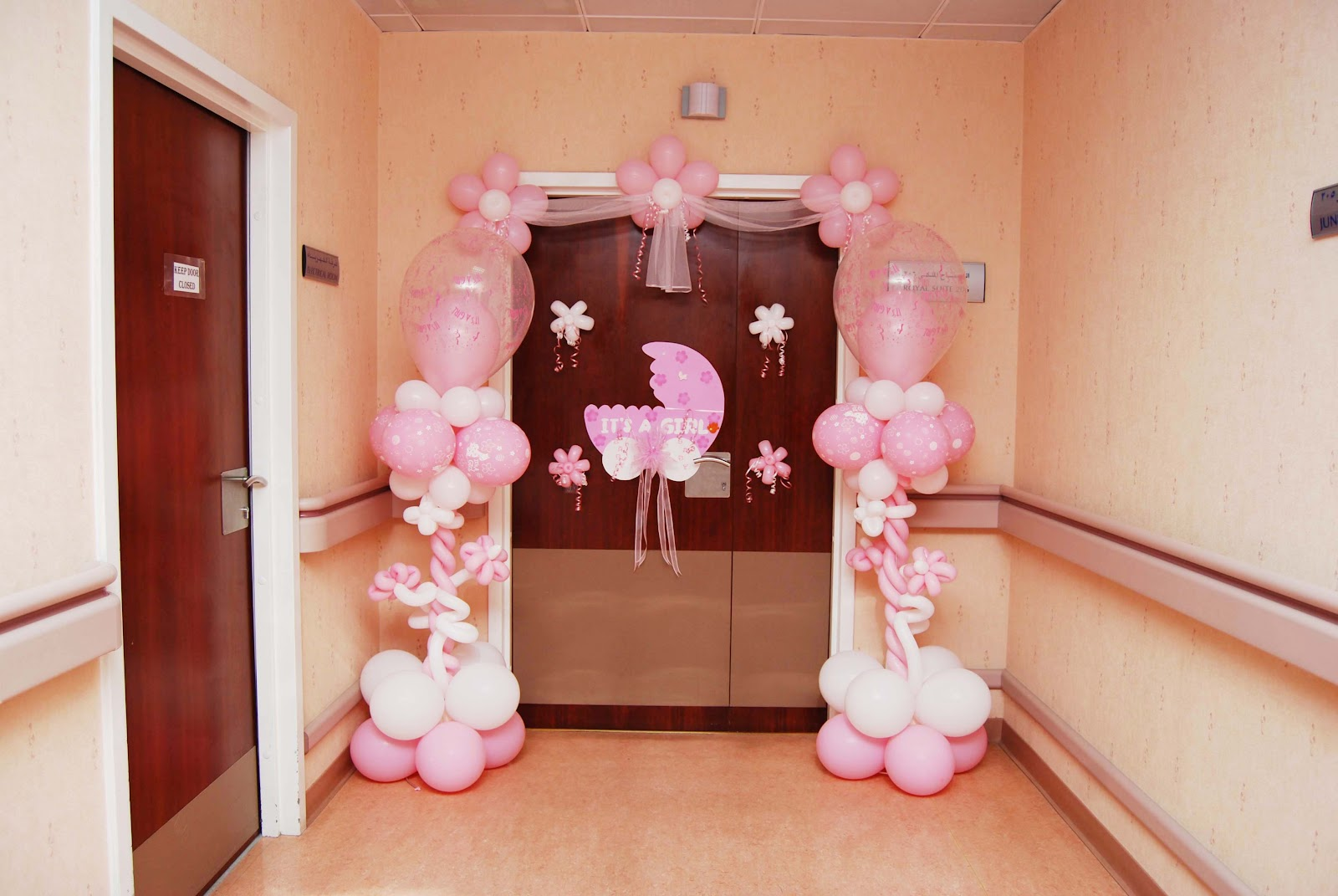 Events managements al wasl hospital decoration for Baby girl hospital door decoration
